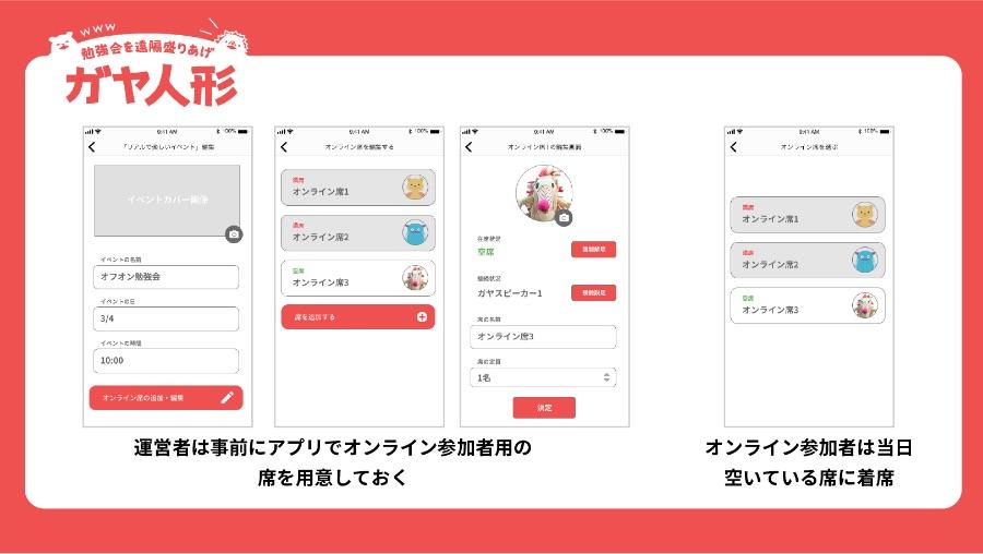レッドハッカソンスライド:アプリの予約画面