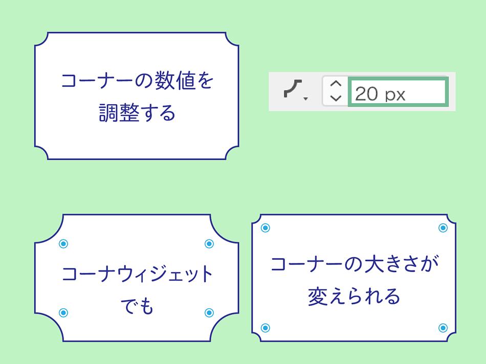 図:コーナーの数値を調整する