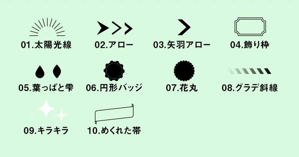リンク画像10種類のいられ素材